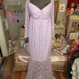 """Dresses - maxi length lavender lace trail dress  length 58"""""""